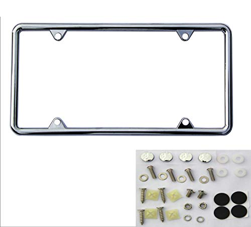 SIBUXIANG The Chromium-Plated License Plate Frame can be Installed in The Front or Rear of Your Car Never Rust with Stainless Steel Screws and Plastics Caps 1package(Chrome)