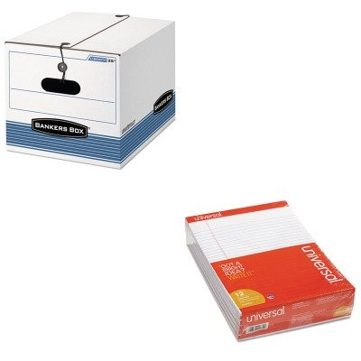 KITFEL00025UNV20630 - Value Kit - Bankers Box STOR/FILE Exrta Strength Storage Box (FEL00025) and Universal Perforated Edge Writing Pad (UNV20630) by Bankers Box