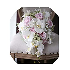 WodCht Beautiful Artificial Flowers Waterfall Wedding Bouquets Ivory Pink Cascading Bridal Bouquets Mariage Roses 108