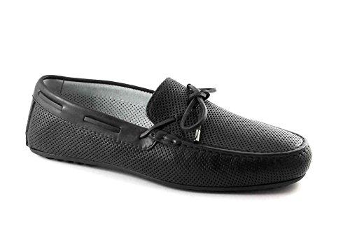 Jardines Black 5091 zapatos negros holgazanes del hombre agujeros tubulares elegantes Nero