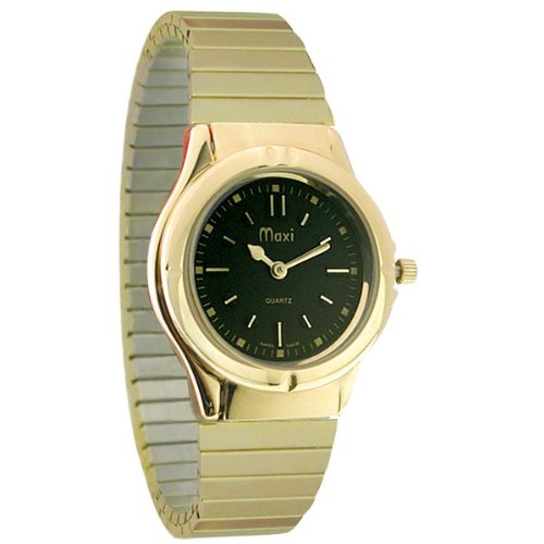 Mens Sports Gold-Tone Braille Watch with Black Dial-Gold-Tone Expansion Band