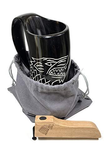 (House Stark Horn Beer Mug Set with Wooden Magnetic Bottle Opener   Cow Horn Beer Mug and House Stark Bottle Opener!)
