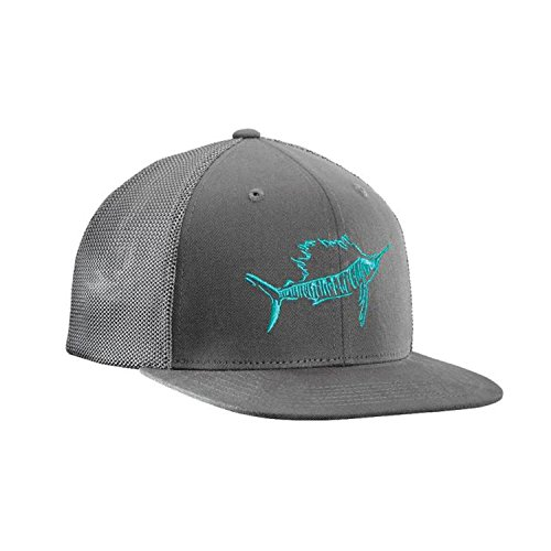 Flying Fisherman Sailfish Fitted Trucker Hat, Dark Graphite, - Fisherman Hats Flying