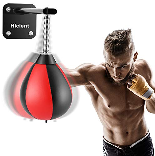 Hicient Punching Bag Reflex Speed Bag with Reinforced Spring Wall-Mounted Strong Durable Boxing Ball Relief Stress Ball…