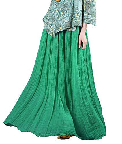 YESNO Women Casual Long Maxi Linen Summer Skirt 2 Laye Large A-Line Flowy Hem TJ5 ()