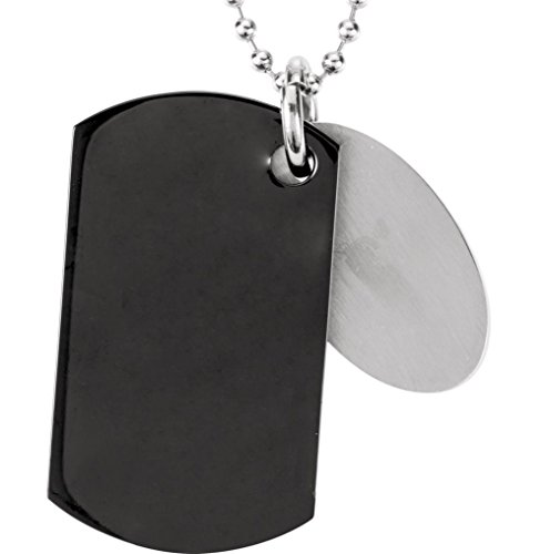 "Cincinnati Bengals Official NFL Black IP Stainless Steel Dog Tag Necklace, 27"""""