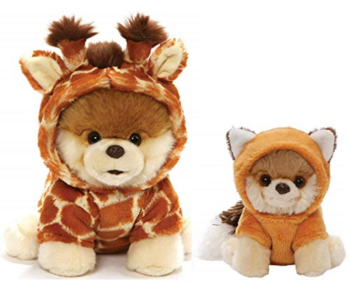 GUND Itty Bitty Boo Plush Bundle of 2, Giraffe and Red Fox