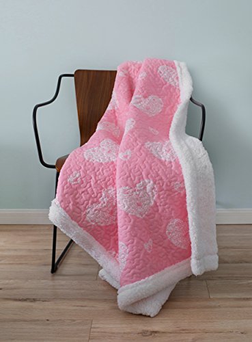 SLPR Sherpa Throw Blanket for Girl's Room Nursery with Pink Hearts Pattern (50