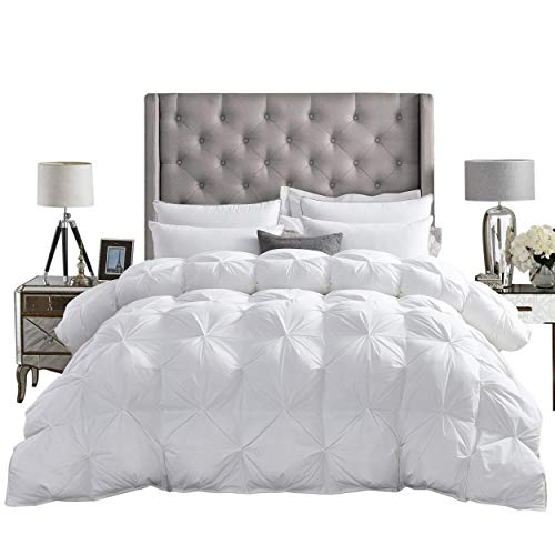Canadian Geese Blanket - Luxurious All-Season Goose Down Comforter Queen Size Duvet Insert, Exquisite Pinch Pleat Design, Premium Baffle Box, 1200 Thread Count 100% Egyptian Cotton, 750+ Fill Power, 55 oz Fill Weight, White