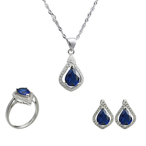 Aooaz Womens Jewelry Set, Wedding Ring Earrings Necklace Blue Pear Teardrop CZ Crystal Micro Pave CZ by Aooaz