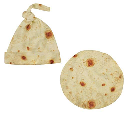 Kehen 2pcs Newborn Sleep Bag - Burrito Baby Blanket Wearable Flour Tortilla Swaddle Blanket Sleeping Swaddle Wrap with Hat (Burrito #2 (Swaddle+Hat), 0-3 Months)