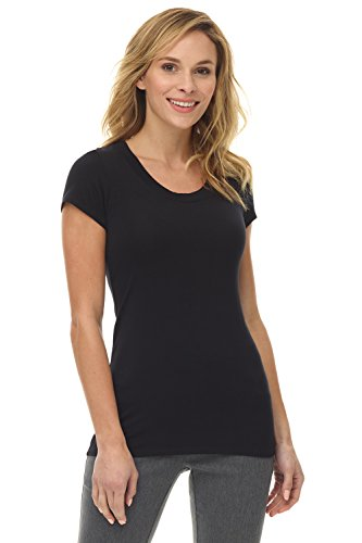 Black Womens Fitted T-shirt - Rekucci Women's Perfectly Soft Basic Fitted Short Sleeve Scoop Neck T Shirt (X-Small,Black)