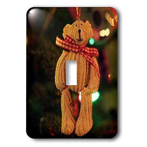 3dRose Stamp City - holiday - Photograph of a teddy bear ornament hanging on our Christmas tree. - Light Switch Covers - single toggle switch (lsp_304340_1)