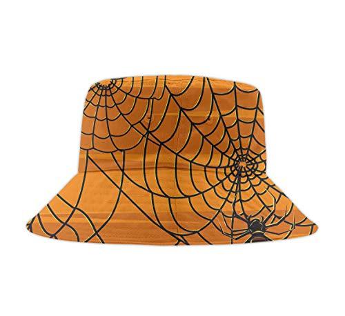Beach Hat for Women Kids Soft Cotton Brim Bucket Halloween Spider Web Reversible Fisherman Hats Outdoor Sun Block an UV 50+ Sun Protective Cap -