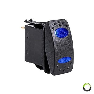 12V DC 20A 4-Pin LED ON-(ON) SPDT Rocker Switch - Blue: Automotive