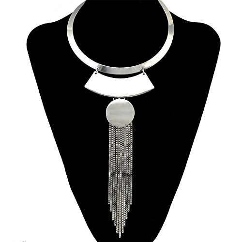 Fashion Gold Silver Necklace Choker Bib Collar Long Box Chain Tassel Pendant Geometric Necklaces ()