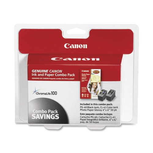Canon PG-40/CL-41 Cartridges and Glossy Photo Paper Combo (Canon Ip1800 Photo Printer)