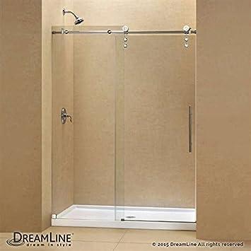 DreamLine Enigma-Z Fully Frameless Sliding Shower Door & SlimLine 36 ...