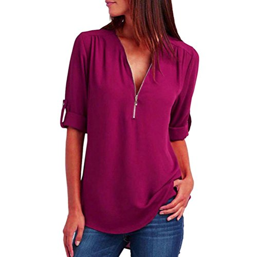 Blouse T L che Haut Longues Tops Chemise Casual Manches Femmes nbsp; Mode Rose Shirt Vif Femme Xinantime SW6RAxqwgS