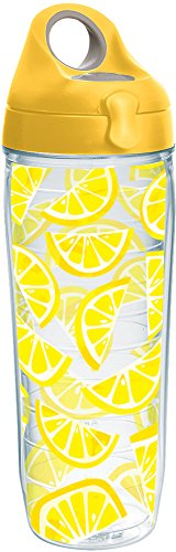 (Tervis 1243345 Lemon Trend Tumbler with Wrap and Yellow Lid 24oz Water Bottle, Clear)