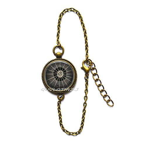 QUVLOTIAZJ Cobweb Bracelet Spider Jewelry Spider Web Gothic Spooky Halloween Art Bracelets,glass dome Bracelets,photo Bracelets,ot145 (A2) - Pewter Spider Charm