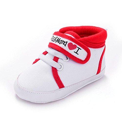 Clode® Baby Boy Girl Kleinkind Segeltuch Turnschuhe Freizeitschuhe ;weiche alleinigen Schuhe für 0-18 Monate Baby Rot