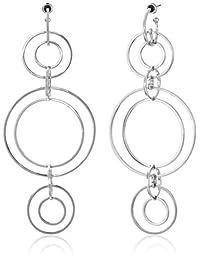 Noir Jewelry Clio Wireframe Rhodium Drop Earrings