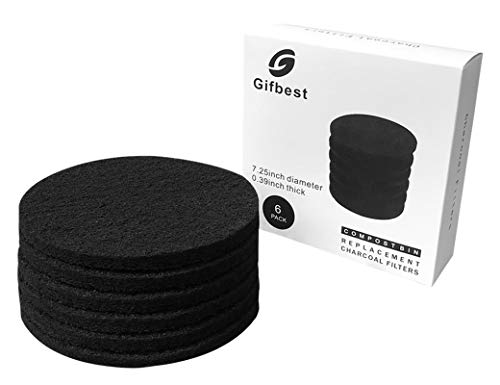 - Compost Bin Filters Charcoal, Gifbest Charcoal Filter Replacement for Compost Pail, Odor Absorbing Coal Filter Refills for Kitchen Compost Bucket, 6 Pack 7.25