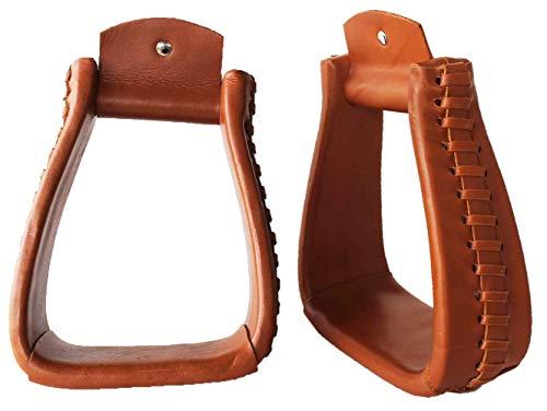 PRORIDER Western Horse Saddle Tack Leather Covered Angled Sloped Stirrups Tan 5155