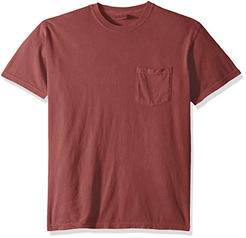 Comfort Colors Men's Adult Short Sleeve Pocket Tee, Style 6030, Crimson, Large