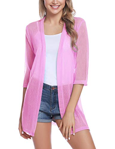 (iClosam Women Casual 3/4 Sleeve Sheer Open Front Cardigan Sweater (Rose Pink, Large) )
