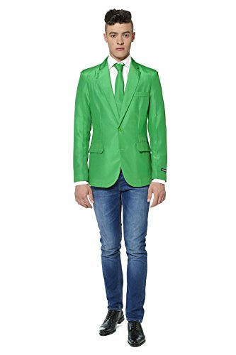 Suitmeister+Mens+Solid+Green+Suit+Blazer+Sport+Jacket+and+Tie+Green+X+Large