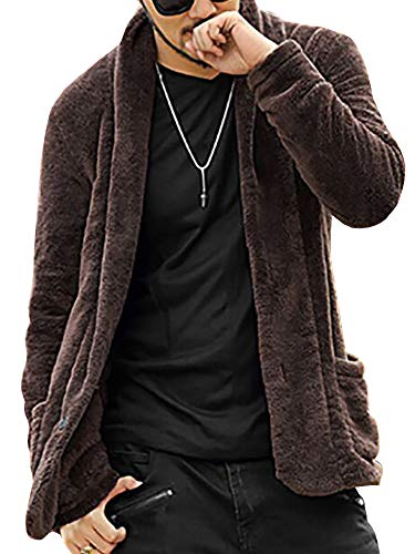 Mens Hoodie Fuzzy Sherpa Jacket Open Front Long Sleeve Vintage Fall Outwear Winner (Front Jacket Fur Button)