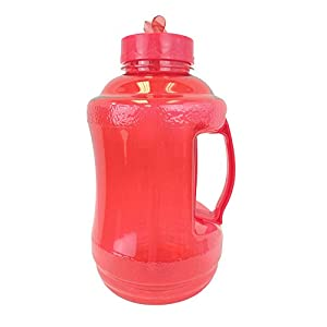 1.68 Liter BPA FREE Reusable Plastic Drinking Water Bottle Jug Container with Plastic Handle and Drinking Straw - Red