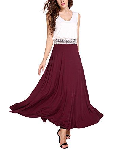 Pinsparkle Womens Round Neck Sleeveless Cotton Formal Wedding Dress, Wine Red, M