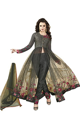 EthnicWear Net Art Silk Indian Embroidery Stone Work Pant Style Wedding Evening Party Wear Salwar Kameez by Ethnicwear