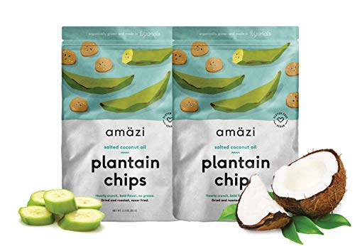 Amazi Dried & Roasted Plantain Chips – Salted Coconut Oil Flavor – Organically Grown, Fair Trade, Gluten-Free, Certified Vegan Chips – Paleo Friendly Healthy Snacks – Uses Heart-Healthy Fats – 2 Pack