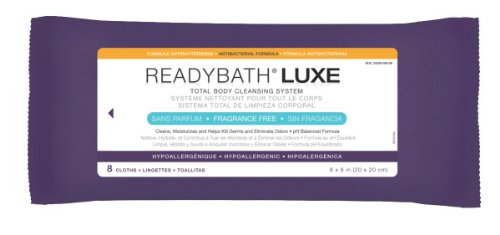 Medline ReadyBath LUXE Unscented Antibacterial Body Cleansing Cloths, Extra Thick Wipes (8 Count Pack, 24 Packs)