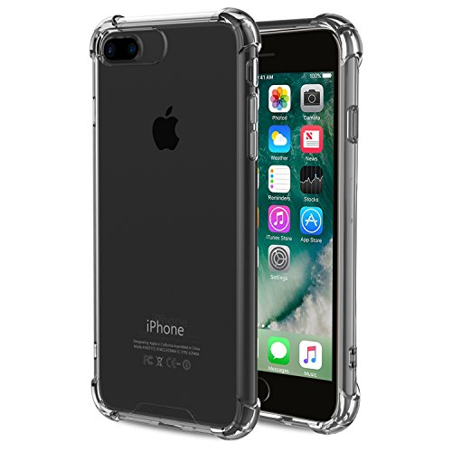 For iPhone 7 Plus Case / iPhone 8 Plus Case, MoKo Shock Absorption Flexible TPU Bumper Anti-Scratch Rigid Slim Protective Cases Clear Back Cover for Apple iPhone 7 Plus / 8 Plus, GRAY -