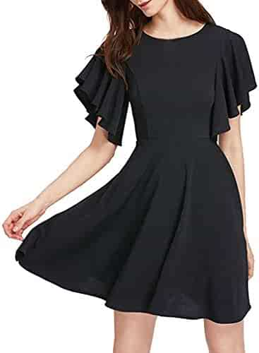 800fb35c21fe iZHH Dress for Women Casual Stretchy A Line Swing Flared Skater Cocktail  Beach Party Dress