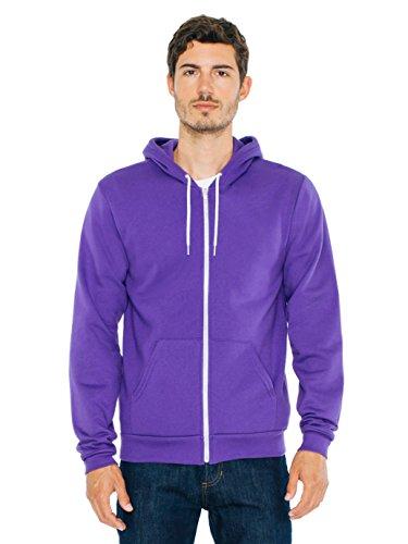 American Apparel  Unisex Flex Fleece Zip Hoodie, Purple, -