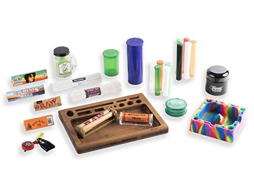 26 Item Bundle - Tray, Candle, Grinder, Ashtray, Raw Roller, Zig Zag Roller, Bob Marley Ppr, Element Ppr, Pop Tops, UV Jar, Raw Ppr, Zig Zag Ppr, Lighter Leash, 5 Lrg Tubes, 5 Sml Tubes, Pipe Clnrs