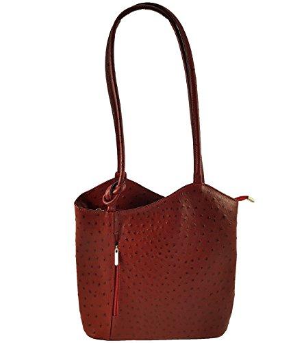 FreyFashion - Made in Italy - Bolso mochila  para mujer Strauß Dunkelrot