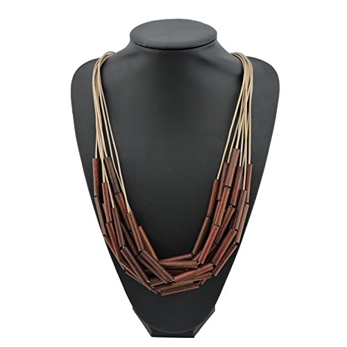 Bocar Long Multiple Strand Wood Beaded Statement Necklace for Women (NK-10500) by Bocar (Image #2)