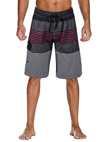 fc67476a8a5 unitop Men's Quick Dry Striped Print Swim Trunk Surfing Beach Board Shorts  Red-28