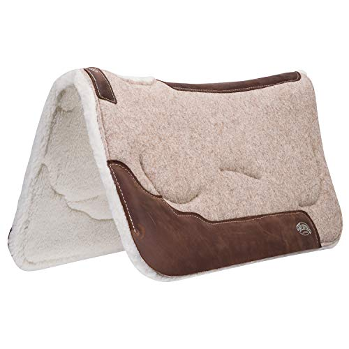 (Weaver Leather 100% Wool Felt Saddle Pad with Gel Insert and Merino Wool Fleece Liner)