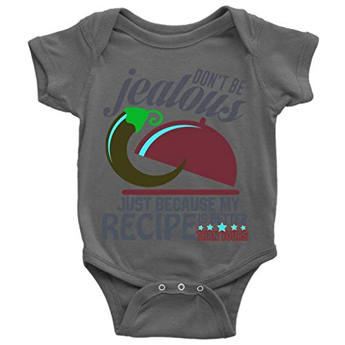 MNSBABY Because My Recipe Baby Bodysuit, Don't Be Jealous Cute Baby Bodysuit (12M, Baby Bodysuit - Dark Gray) ()