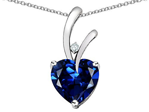 Star K Heart Shape 8mm Created Sapphire Endless Love Pendant Necklace 14 kt White Gold