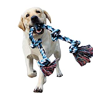 LECHONG Dog Rope Toys for Aggressive Chewers Tough Rope Chew Toys for Large and Medium Dog 3 Feet 5 Knots Indestructible Cotton Rope for Large Breed Dog Tug of War Dog Toy Teeth Cleaning 23