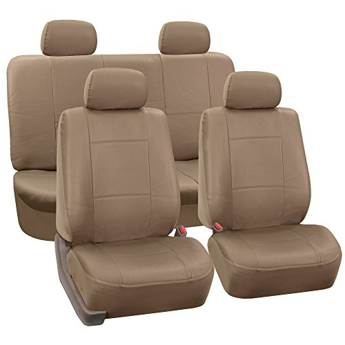 FH-PU001114 PU Leather Car Seat Covers Solid Tan color ()